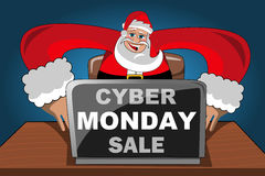 Modern Santa Claus purchases internet computer cyber monday sale Stock Photography