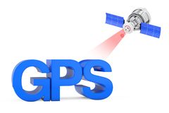 Modern Satelite Broadcasting to GPS Sign. 3d Rendering. Modern Satelite Broadcasting to GPS Sign on a white background. 3d Rendering stock illustration