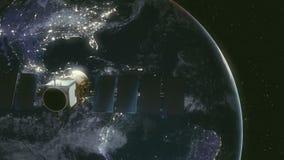 Modern satellit i omlopp runt om jord royaltyfri illustrationer