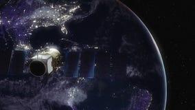 Modern satellit i omlopp runt om jord stock illustrationer