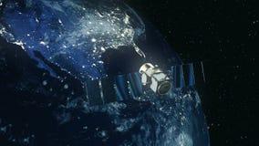 Modern satellit i omlopp runt om jord vektor illustrationer