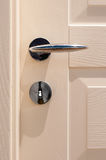 Modern, satin handle on a wooden door royalty free stock images