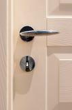 Modern, satin handle on a wooden door. Modern, contemporary satin handle on a wooden door Royalty Free Stock Images