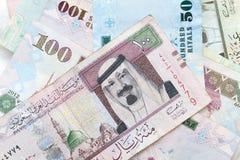 Modern Saudi Arabia money, banknotes background Stock Image