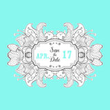 Modern Save the Date label with floral  element Royalty Free Stock Photography