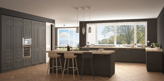 Modern scandinavia kitchen with big windows, panorama classic wh Royalty Free Stock Images