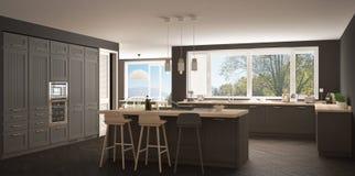Modern scandinavia kitchen with big windows, panorama classic white and gray interior design stock image
