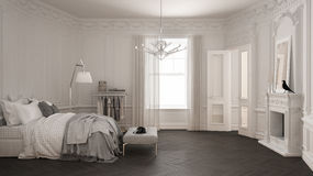 Modern scandinavian bedroom in classic vintage living room with Royalty Free Stock Photography