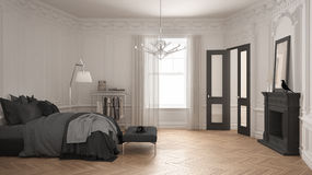 Modern scandinavian bedroom in classic vintage living room with Royalty Free Stock Images
