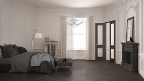 Modern scandinavian bedroom in classic vintage living room with Royalty Free Stock Photos