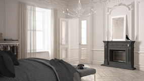 Modern scandinavian bedroom in classic vintage living room with. Fireplace, luxury white and gray interior design Stock Photos