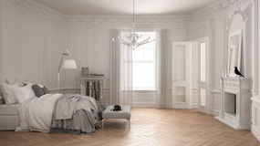 Modern scandinavian bedroom in classic vintage living room with. Fireplace, luxury white interior design Stock Photo