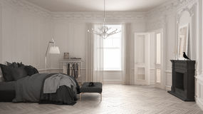 Modern scandinavian bedroom in classic vintage living room with. Fireplace, luxury white interior design Stock Photos