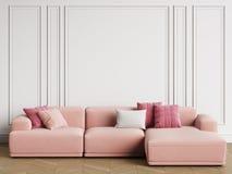 Modern Scandinavian Design sofa in interior. Walls with moldings,floor parquet herringbone vector illustration