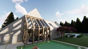 Modern Scandinavian house exterior stock footage