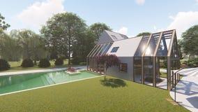 Modern Scandinavian house. Exterior summer stock footage
