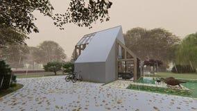 Modern Scandinavian house. Exterior details autumn stock video