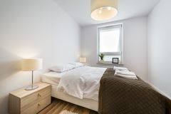 Modern scandinavian interior design bedroom Stock Image