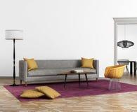 Modern scandinavian stilinre med en grå soffa Arkivbilder