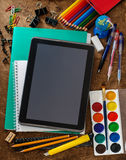 Modern school background with tablet Stock Image