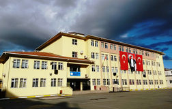 Modern schoolhouse in istanbul turkey. Istanbul, turkey: Modern schoolhouse. Atatürk and the Turkish flag is hanging on the school walls Stock Photo