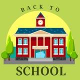 Modern school buildings exterior, student city concept, elementary school facade urban street background, icon vector Stock Image