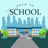 Modern school buildings exterior. Modern school buildings exterior, student city concept, elementary school facade urban street background, icons set vector Stock Photo