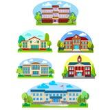 Modern school buildings exterior. Student city concept, elementary school facade urban street background, icons set vector illustration stock illustration