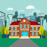Modern school buildings exterior, student city concept. Modern school buildings exterior, student city concept, elementary school facade urban street background Royalty Free Stock Photography