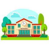 Modern school buildings exterior, student city concept. Modern school buildings exterior, student city concept, elementary school facade urban street background Royalty Free Stock Images