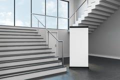 Modern school corridor with empty stand. Modern school corridor interior with empty stand on wall. Advertisement concept. Mock up, 3D Rendering Stock Photo