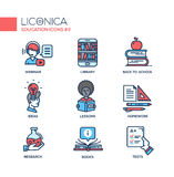 Modern school and education thin line design icons, pictograms Royalty Free Stock Photos