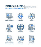 Modern school and education thin line design icons, pictograms Stock Photos