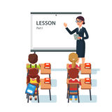 Modern school lesson. Little students and teacher. Classroom with whiteboard, pupils tables and chairs. Modern flat style vector illustration isolated on white Royalty Free Stock Photography