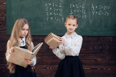 Modern school. modern girls in school. modern school concept. modern education of pupils. together since school. Modern school. modern girls in school. modern stock photography