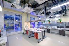 Modern scientific laboratory interior at Skolkovo Technopark. Skolokovo, Russia - October 16, 2017: Modern scientific laboratory interior at Skolkovo Technopark Royalty Free Stock Photos