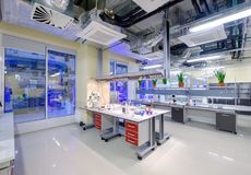 Modern scientific laboratory interior at Skolkovo Technopark. Skolokovo, Russia - October 16, 2017: Modern scientific laboratory interior at Skolkovo Technopark Stock Photo
