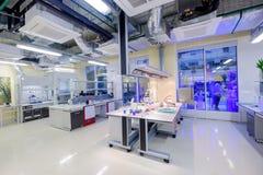 Modern scientific laboratory interior at Skolkovo Technopark. Skolokovo, Russia - October 16, 2017: Modern scientific laboratory interior at Skolkovo Technopark Royalty Free Stock Images