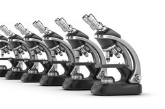 Modern scientific microscopes Stock Photo