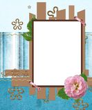 Modern scrapbook layout in blue and brown colors Royalty Free Stock Photos