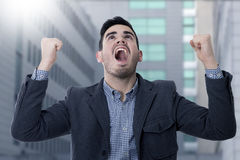 Screaming young man business. Modern screaming young man business Stock Image