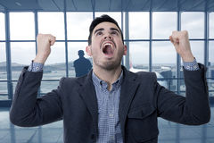 Modern screaming young man. Success Royalty Free Stock Photography