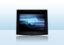 Modern Screen. 3D-Rendering of a flat screen on reflective ground. Change the screen content with your individual stuff easily Royalty Free Stock Image