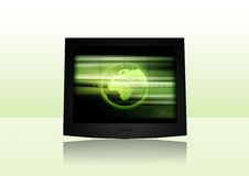 Modern Screen. 3D-Rendering of a flat screen on reflective ground. Change the screen content with your individual stuff easily Royalty Free Stock Images