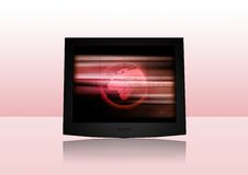 Modern Screen. 3D-Rendering of a flat screen on reflective ground. Change the screen content with your individual stuff easily Royalty Free Stock Photography