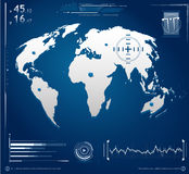 Modern Screen Illustration. Modern tech screen illustration showing world map and different measuring units Royalty Free Stock Image