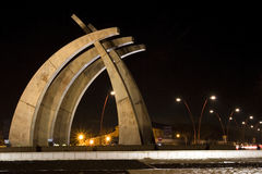 Modern Sculpture. Sculpture with a modern architectural design in Spain, at night Stock Photo