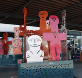 Modern sculpture in airport terminal entrance Stock Photography