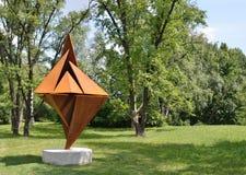 Modern sculpture in the Botanical Garden stock photo