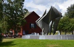 Modern Sculpture in Kristinehamn, Sweden. Modern Sculpture and Café in Kristinehamn, Sweden Royalty Free Stock Photo
